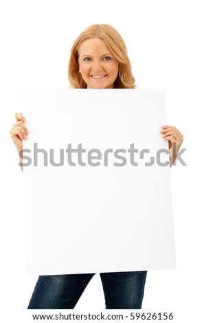 Beautiful woman holding  a banner - isolated over a white background - stock photo
