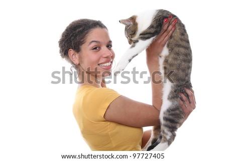 Beautiful woman holding a cat - stock photo