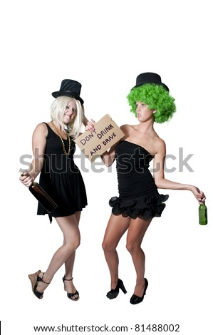 Beautiful Woman Holding a Dont Drink and Drive Sign - stock photo