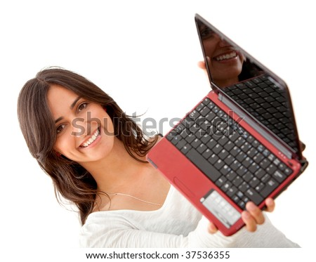 Beautiful woman holding a laptop isolated on white
