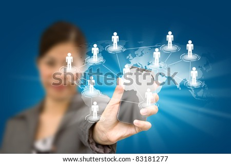 Beautiful woman holding a phone show the social network - stock photo