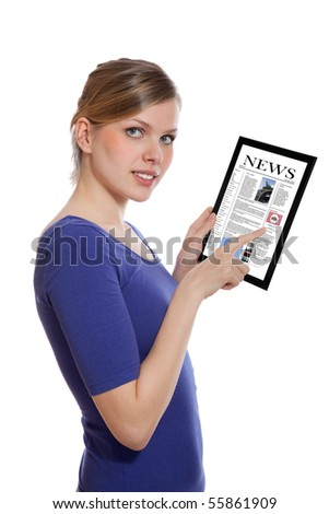 Beautiful woman holding a touchpad pc and reading a newspaper, isolated on white