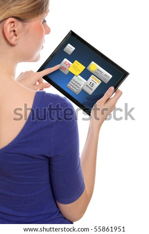 beautiful woman holding a touchpad pc, one finger touches the screen and uses little programmes, isolated on white