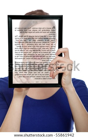 beautiful woman holding a touchpad pc showing an E-Book, isolated on white - stock photo