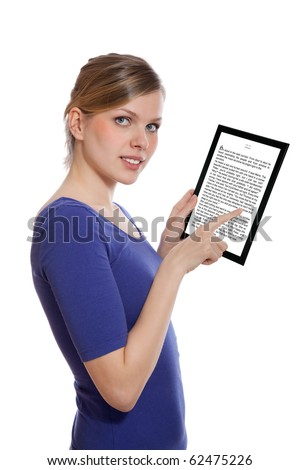 beautiful woman holding a touchpad pc showing an E-Book, isolated on white and focus on the eyes - stock photo