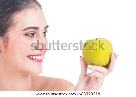 Beautiful woman holding apple isolated on white