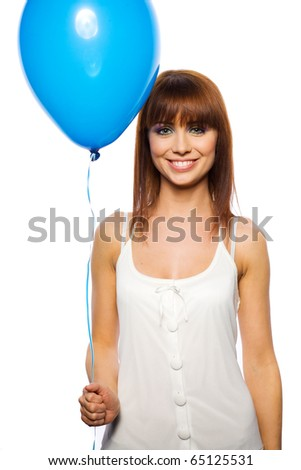 beautiful woman holding ballons