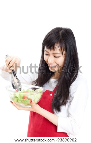 beautiful woman holding glass plate with salad, isolated on white background - stock photo