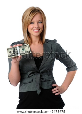 Beautiful woman holding money and smiling isolated over a white background