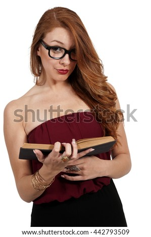 Beautiful woman holding or reading a library book