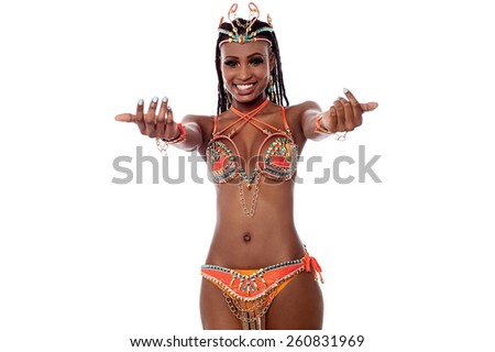 Beautiful woman in a carnival costume - stock photo