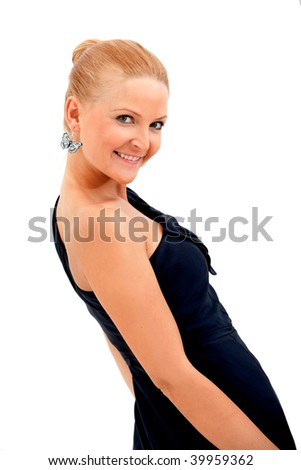 Beautiful woman in a cocktail dress isolated - stock photo
