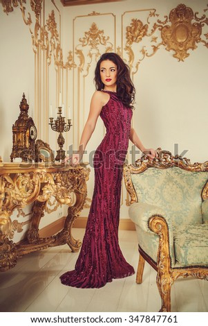 Beautiful woman in a luxurious vintage style