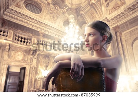 Beautiful woman in a luxury interior