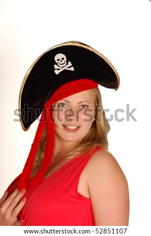 Beautiful woman in a pirate hat.
