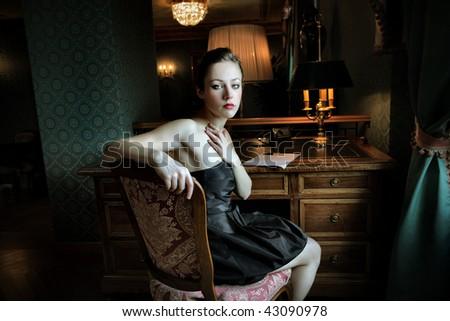 beautiful woman in a romantic mood - stock photo