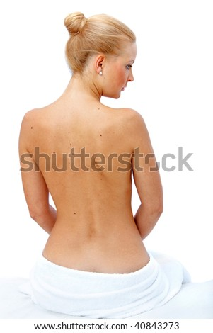 beautiful woman in a spa isolated over a white background - stock photo