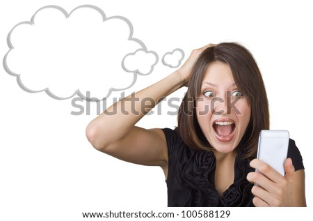 Beautiful woman in amazement looking at mobile phone isolated on white background. Blank cloud at the top of the photo for your text - stock photo