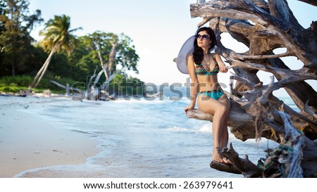 Beautiful woman in bikini and sunglasses is sitting on the snag on the tropical coastline background - stock photo