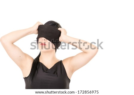 Beautiful Woman in Black cloth blindfold