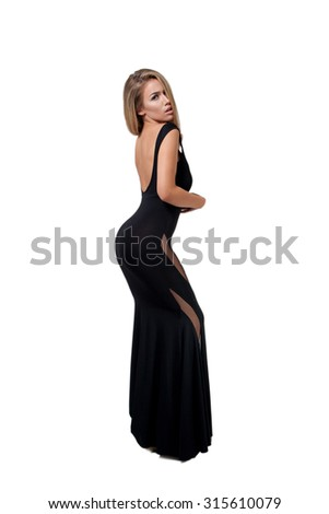 Beautiful Woman in Black Dress Isolated on White - stock photo
