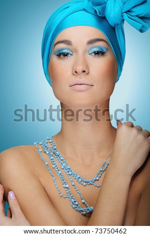 beautiful woman in blue with health skin of face - stock photo