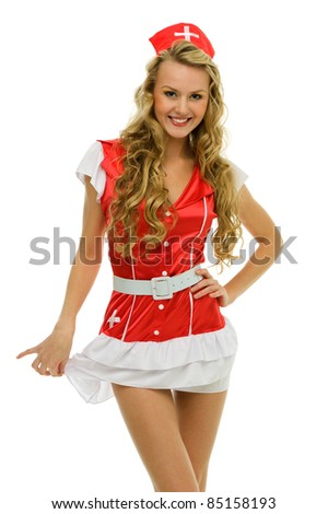 Beautiful woman in carnival costume. Nurse shape.  Isolated image - stock photo