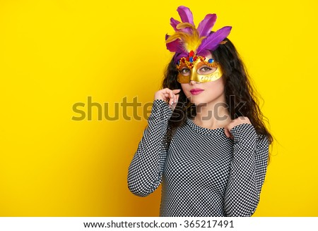 beautiful woman in carnival mask, holiday fashion girl portrait - stock photo