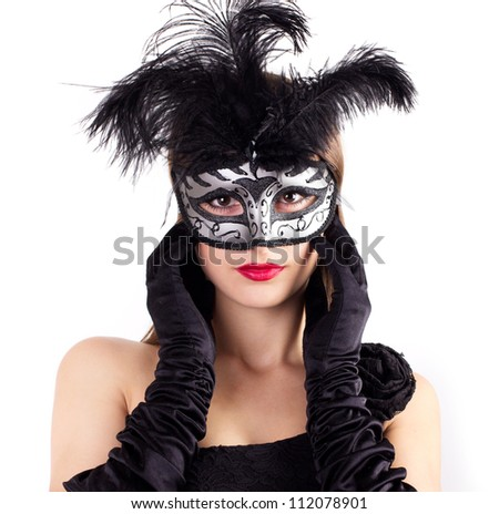 beautiful woman in carnival mask isolated on white background - stock photo