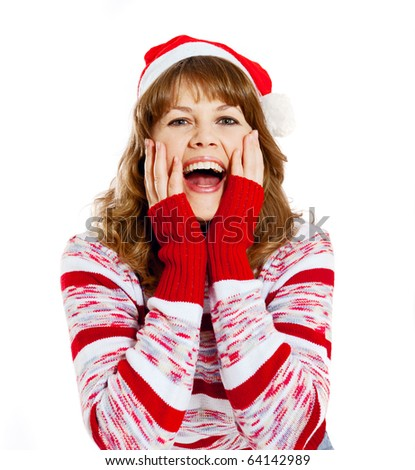 beautiful woman in christmas hat with emotion on her face