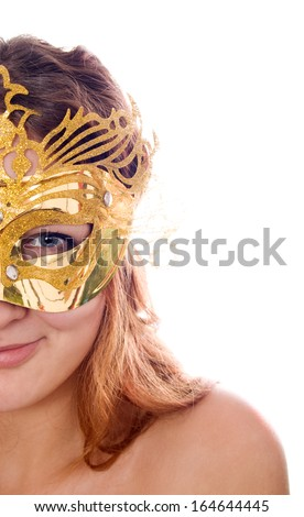 Beautiful Woman in Costume Mask isolated on white backround - stock photo