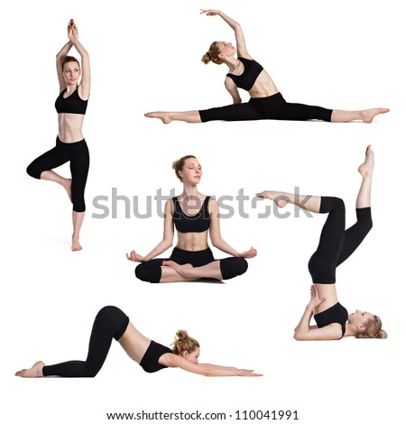 beautiful woman in doing yoga and fitness exercises isolated on white - stock photo