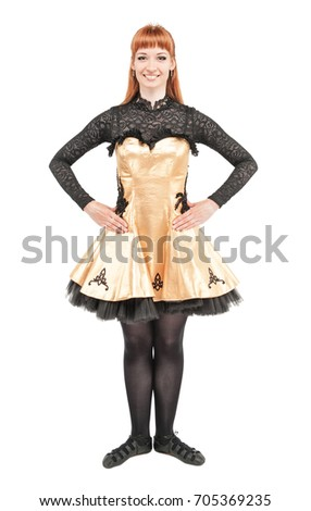 beautiful woman in dress for irish dance isolated on white - Irish Dancer Halloween Costume
