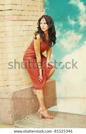 beautiful woman in dress, vintage pattern - stock photo