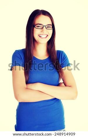 Beautiful woman in eyeglasses smiling.  - stock photo