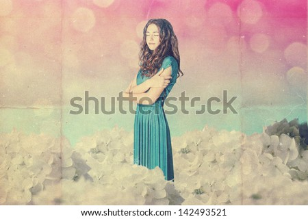 beautiful woman in fairy garden, art work - stock photo