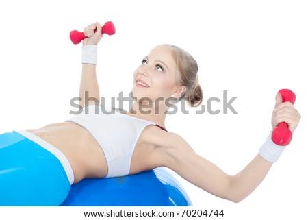 beautiful woman  in fitness over white background