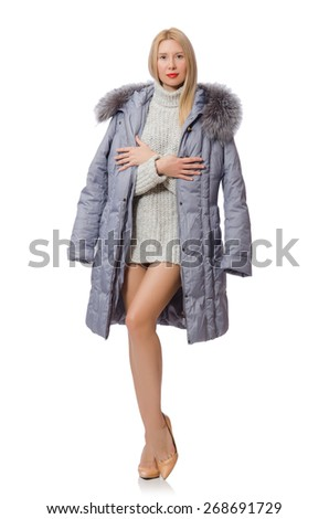 Beautiful woman in gray jacket isolated on white - stock photo