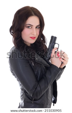 beautiful woman in leather jacket with gun isolated on white background - stock photo
