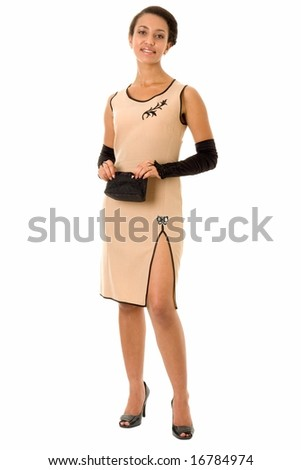 beautiful woman in little dress with a black handbag - stock photo