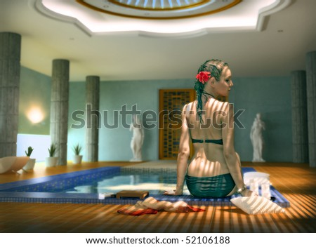 beautiful woman in luxury spa interior (Photo compilation. Photo and cg elements combined) - stock photo