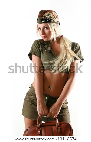 Beautiful woman in military clothes. isolated on white background