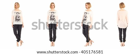 Beautiful woman in pants isolated on white