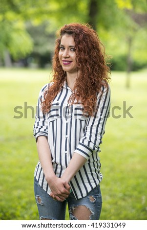 Beautiful woman in park