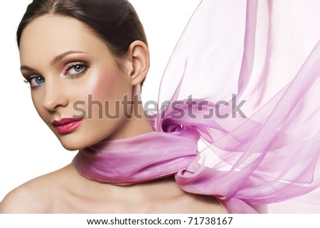 Beautiful woman in pink color scarf on white - stock photo