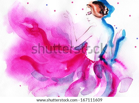 Beautiful woman in pink dress. watercolor illustration - stock photo