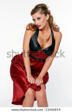 Beautiful Woman in Red and Black dress