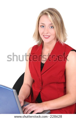 Beautiful Woman In Red On Laptop.