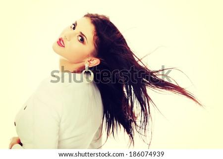 Beautiful woman in sexy dress - stock photo