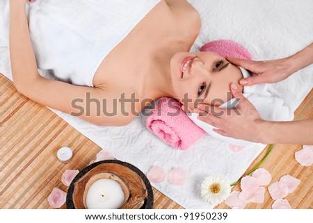 Beautiful woman in spa salon - stock photo